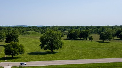 View of platform and conical mounds from top of Monk's Mound
