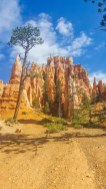 Surrounded by towering rock formations at the bottom of the trail