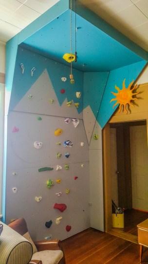 Living room climbing wall. Amazing.
