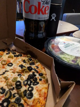 Vegetarian Friday night with olive pizza, garden salad and a Diet Coke