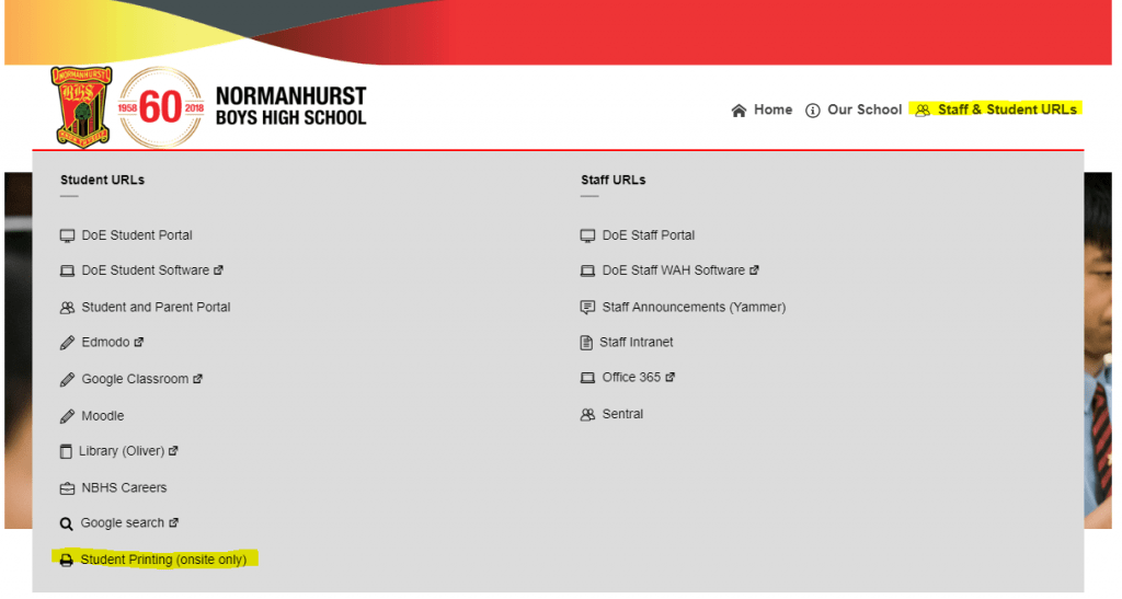 Student printing from the website menu