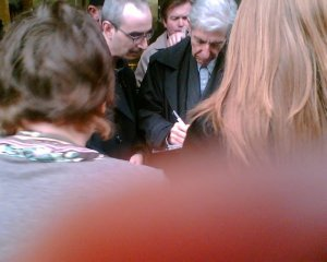 Leonard Cohen with fans in London