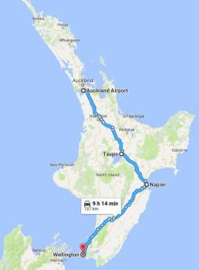 Map of New Zealand north island with route marked