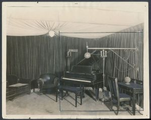 black and white photo of 1925 recording studio