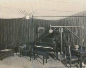 black and white photo of 1925 recording studio