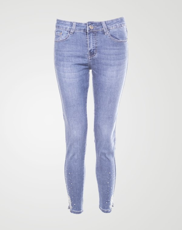 Image 1 of Womens Beaded Hem Skinny Jeans color Blue and sizes XS, S, M, L, XL, XXL from Noroze