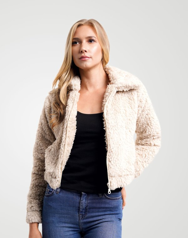 Image 2 of Womens Cropped Teddy Faux Fur Jacket color Stone and sizes 8,10,12 from Noroze