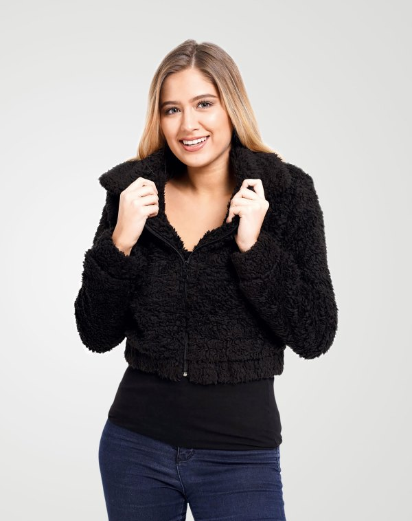 Image 1 of Womens Cropped Teddy Faux Fur Jacket color Black and size 8,10,12 from Noroze
