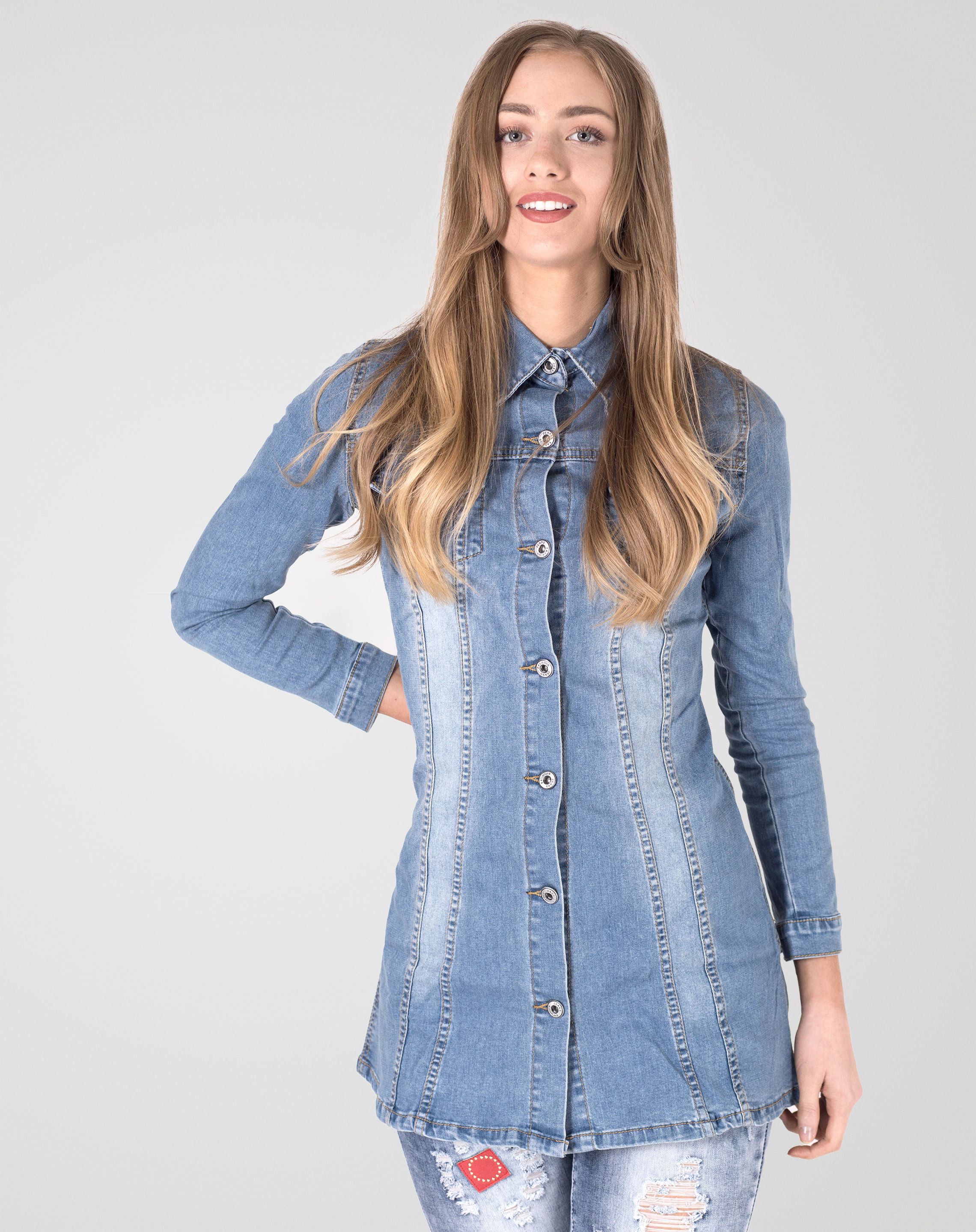 Image 1 of Womens Denim Vintage Shirt color Denim-Blue and sizes 6, 8, 10, 12, 14 from Noroze