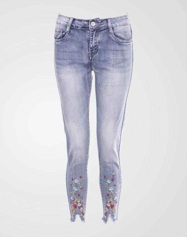 Image 1 of Womens Embroidered Denim Jean color Blue and sizes XS, S, M, L, XL from Noroze