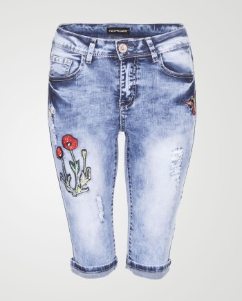 Image 1 of Womens Floral Capri Jeans E421 color Blue and sizes S, M, L, XL, 2XL from Noroze