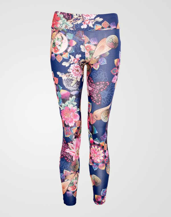 Image 1 of Girls Floral Print Leggings Color Navy and sizes 7-8 yrs, 9-10 yrs, 11-12 yrs, 13 yrs from Noroze