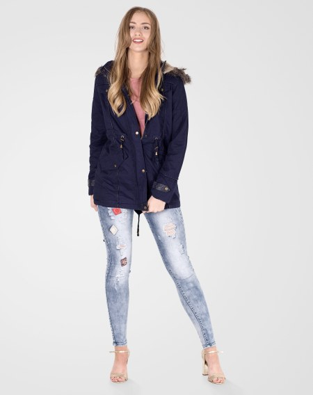 Image 1 of Womens Fur Hooded Parka Coat color Navy and sizes 8, 10, 12, 14, 16, 18, 20, 22 from Noroze