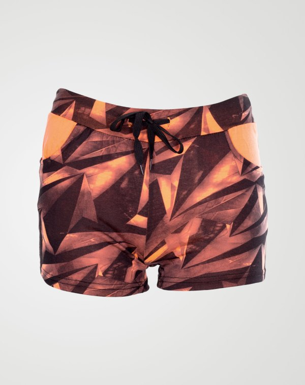 Image 1 of Abstract Print Hot Pants in Coral From Noroze