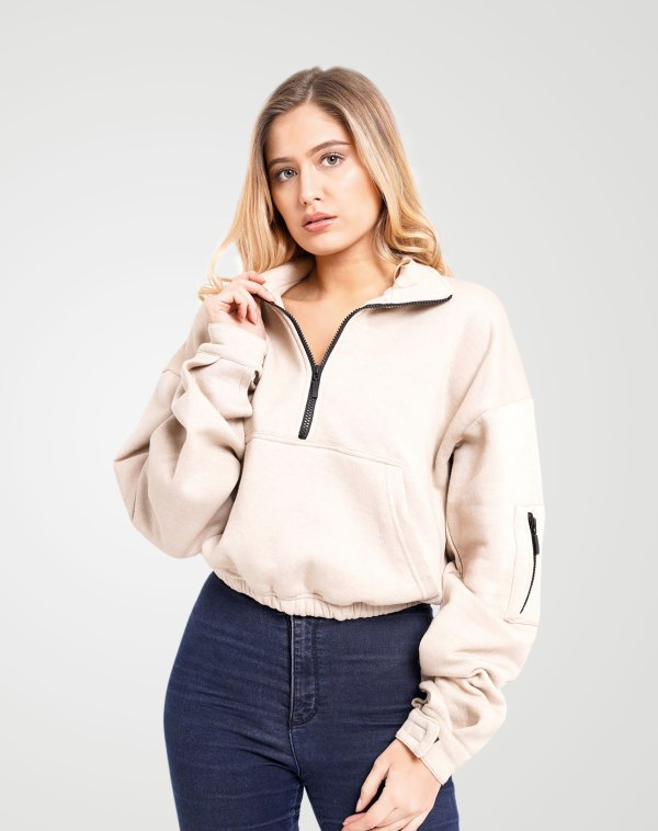 Image 1 of Womens Zipper Pullover Crop Top color Cream and sizes 8,10,12 from Noroze