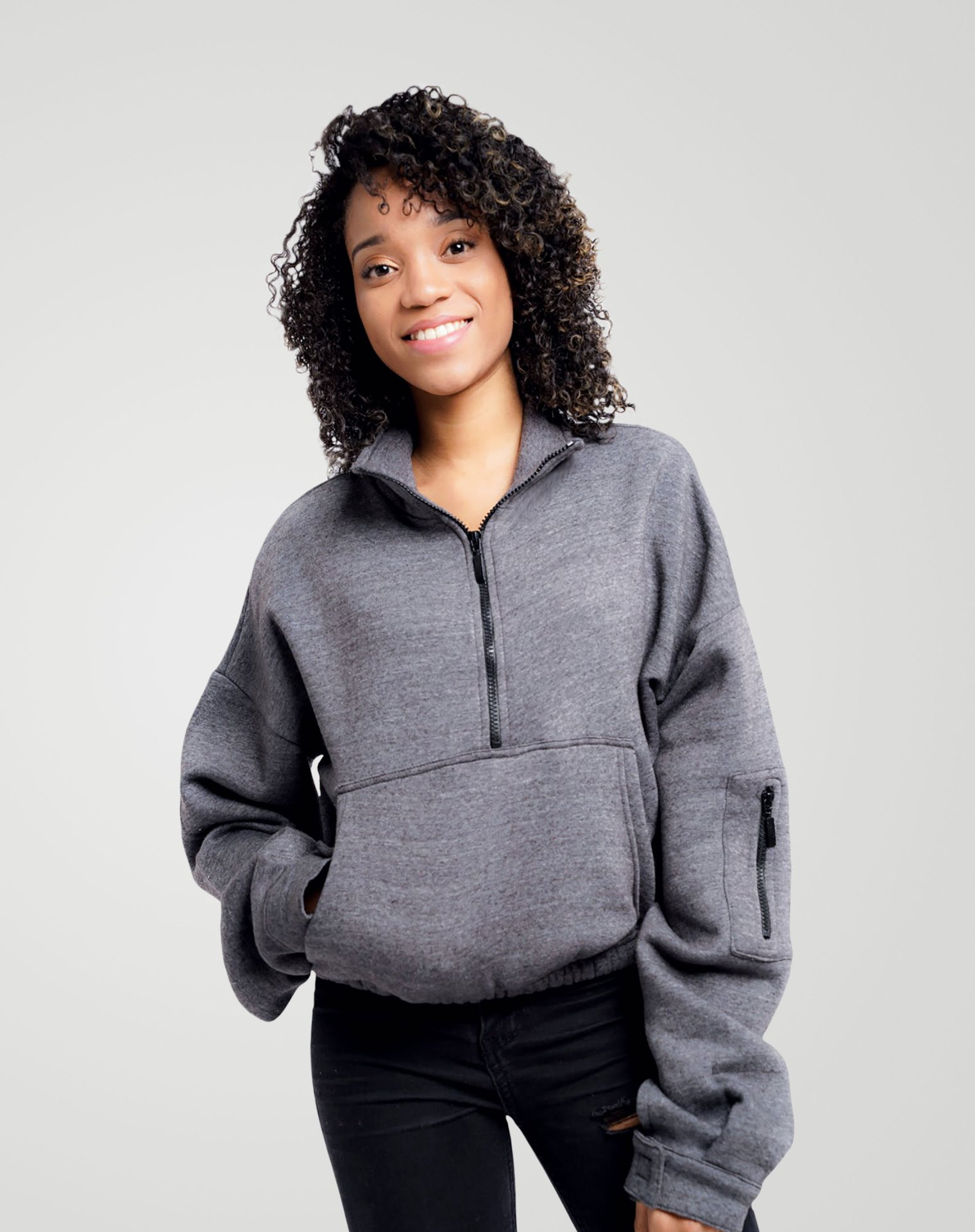 Image 2 of Womens High Neck Crop Top Zipper Pullover color Grey and sizes 8,10,12 from Noroze