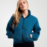 Image 1 of Womens Zipper Pullover Crop Top color Teal and sizes 8,10,12 from Noroze