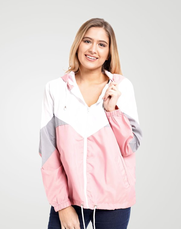 Image 1 of Womens Pink Contrast Block Windbreaker Jacket color Pink and sizes XS, S, M, L, XL from Noroze