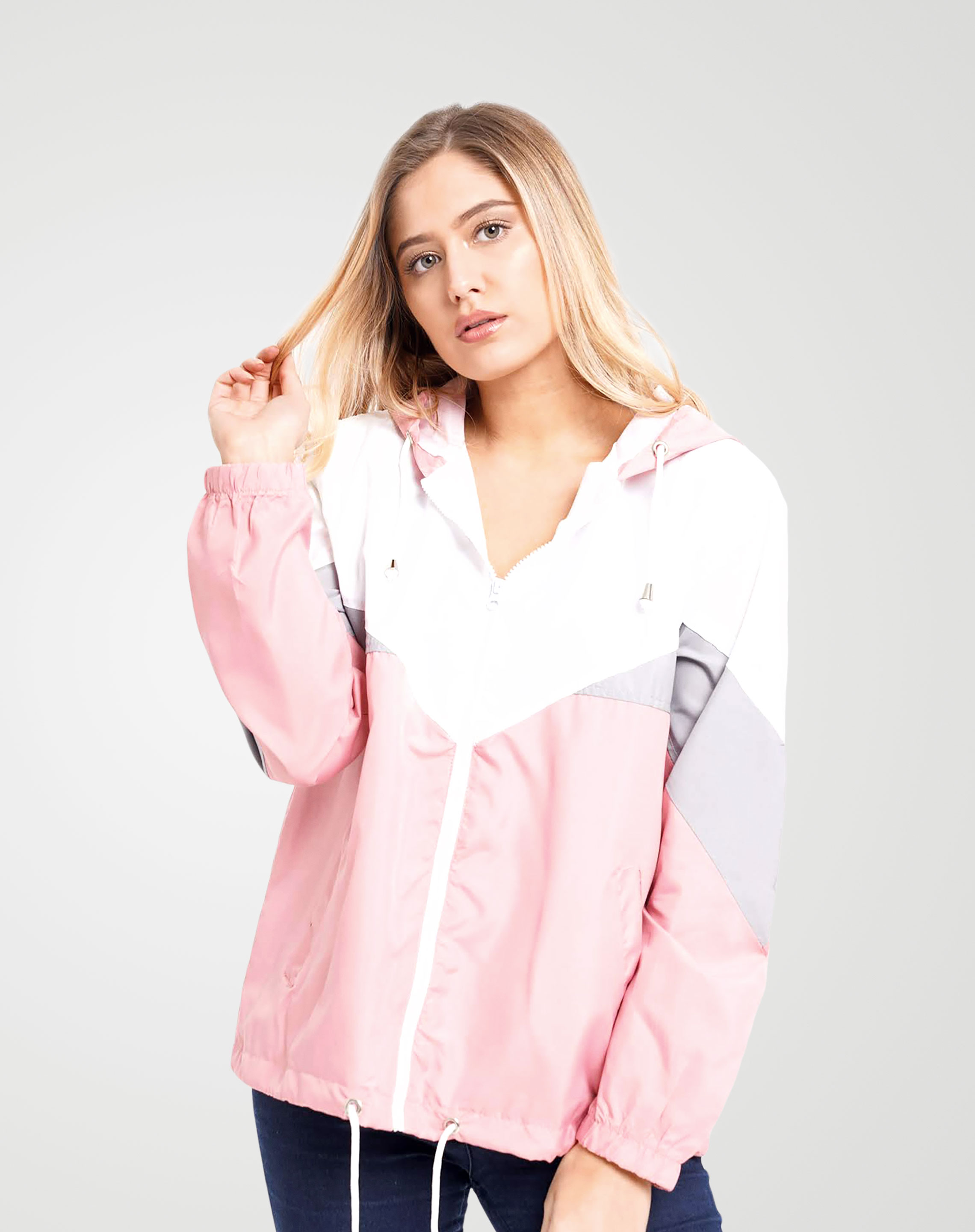 Image 3 of Womens Contrast Block Windbreaker Jacket color Pink and sizes XS, S, M, L, XL from Noroze