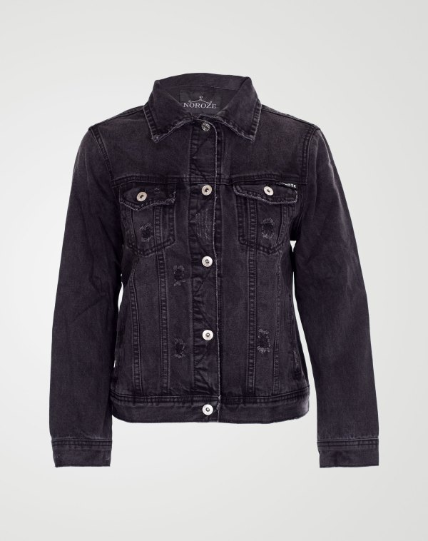 Image 1 of Girls Ribbed Denim Jacket color Black and sizes 7-8 yrs, 9-10 yrs, 11-12 yrs, 13 yrs from Noroze