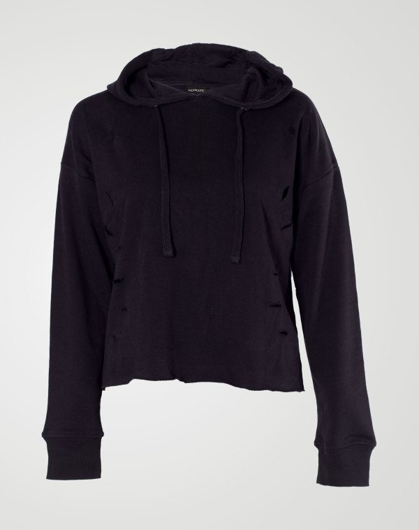 Image 1 of Womens Ripped Crop Hoodie Plain Pullover Sweater color Black and sizes S, M, L, XL from Noroze