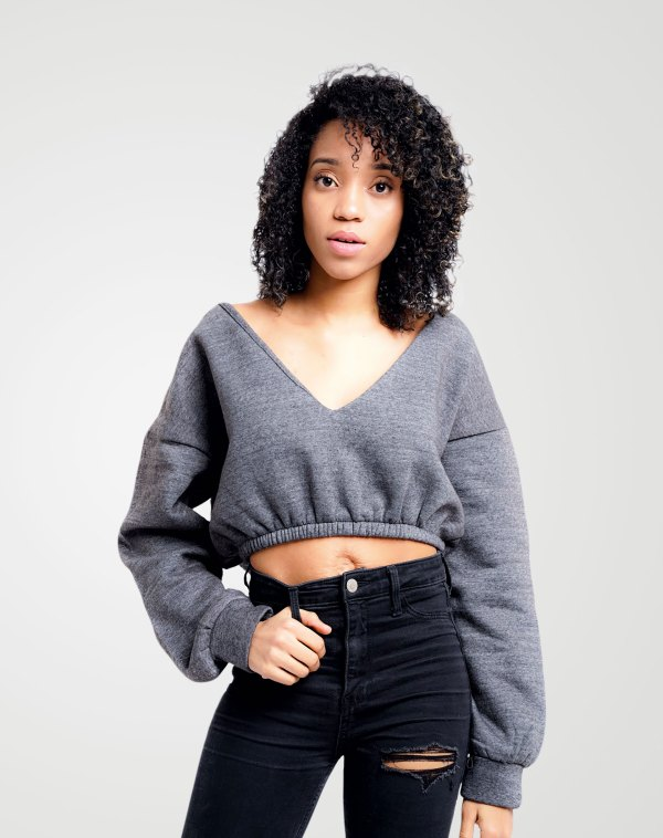 Image 1 of Womens V-Neck Cropped Sweatshirt color Grey and Sizes 8,10,12,14 from Noroze