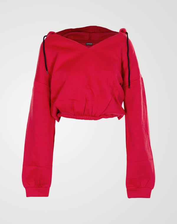 Image 1 of Womens V Neck Hoodie Sweatshirt color Red and sizes S, M, L, XL from Noroze