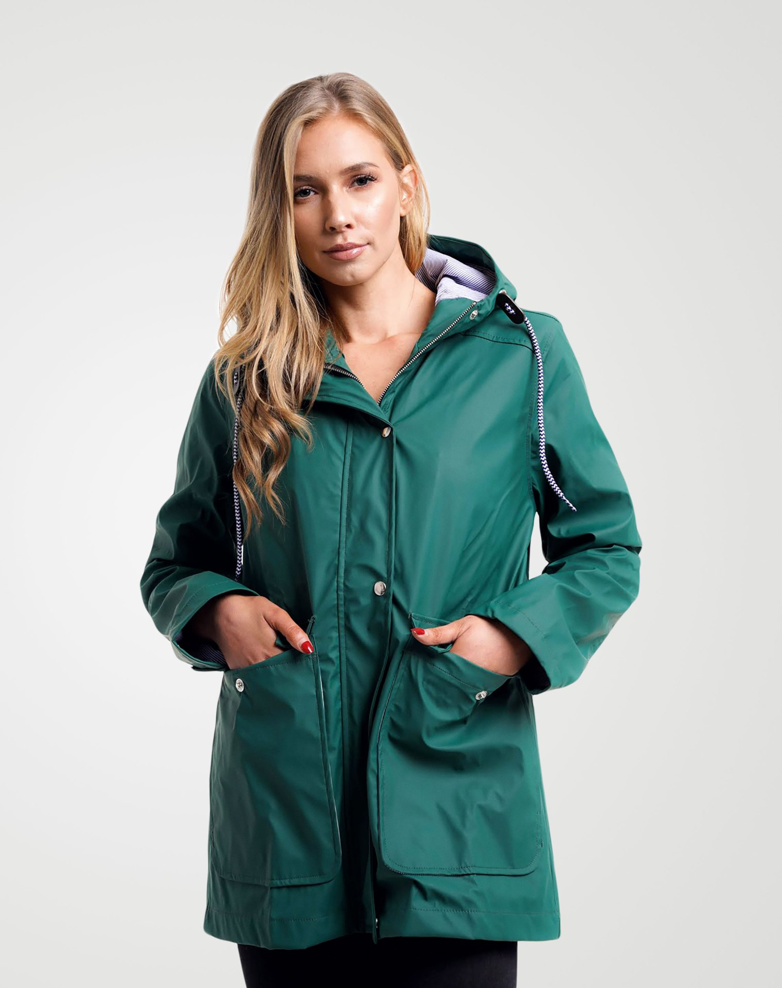Image 1 of Womens Hooded Raincoat Jacket color Green and sizes 8,10,12,14 from Noroze