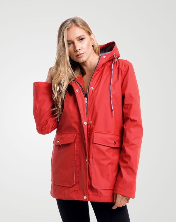 Image 1 of Womens Hooded Raincoat Jacket color Red and size 8,10,12,14 from Noroze