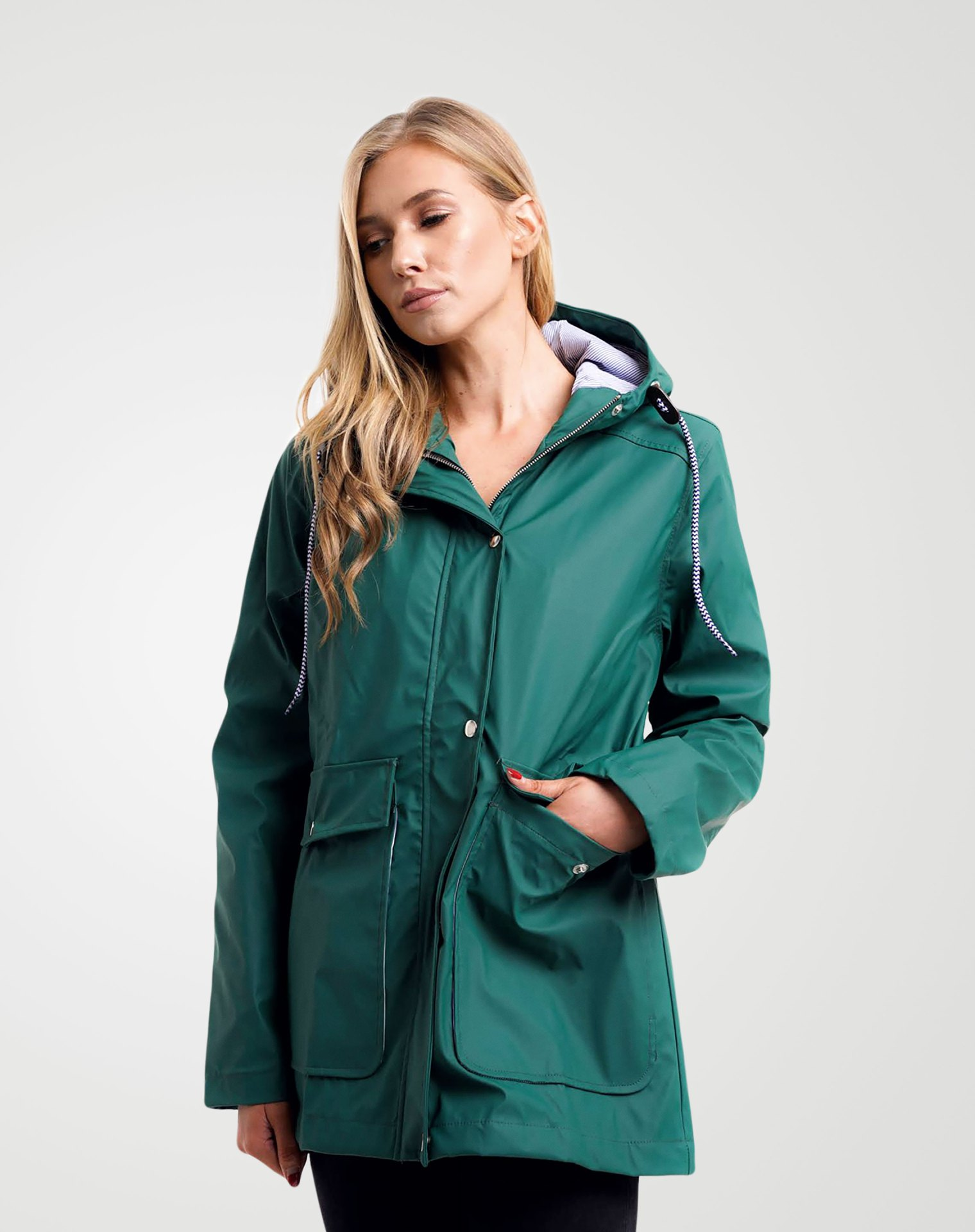 Image 2 of Womens Hooded Raincoat Jacket color Green and sizes 8,10,12,14 from Noroze