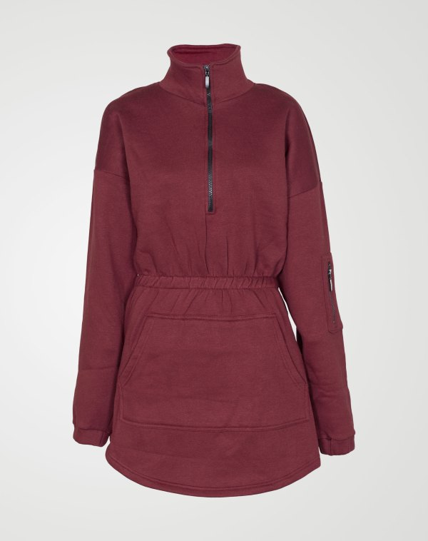 Image 1 of Womens Fleece Quarter Zip Top Dress color Wine and sizes 8,10,12,14 from Noroze