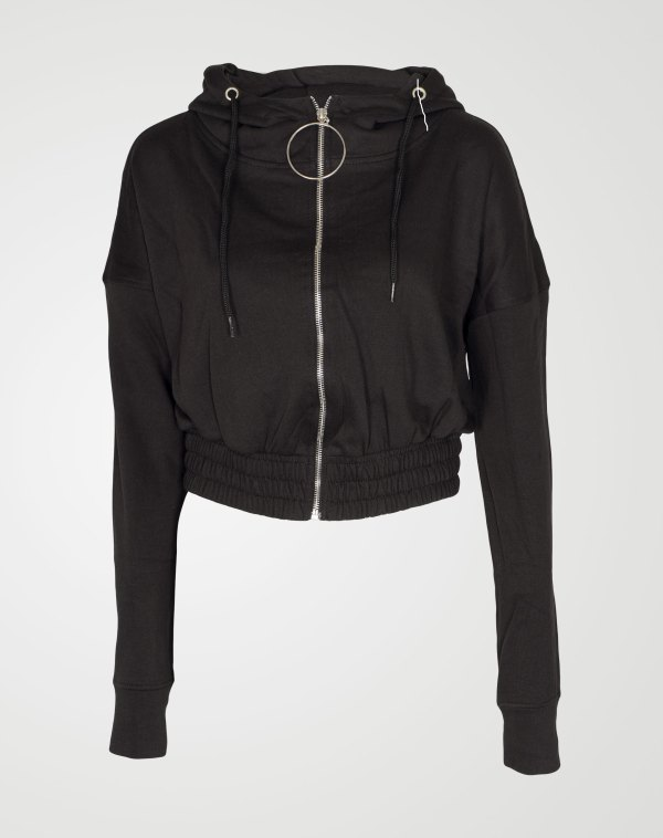 Image 1 of Womens Zipper Plain Hooded Sweatshirt color Black and sizes S, M, L, XL from Noroze