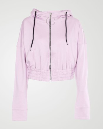 Image 1 of Womens Zipper Plain Hooded Sweatshirt color Baby Pink and sizes S, M, L, XL from Noroze