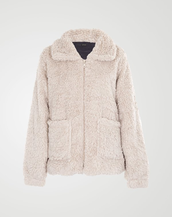 Image 1 of Womens Borg Teddy Jacket color Stone and sizes 8,10,12,14 from Noroze