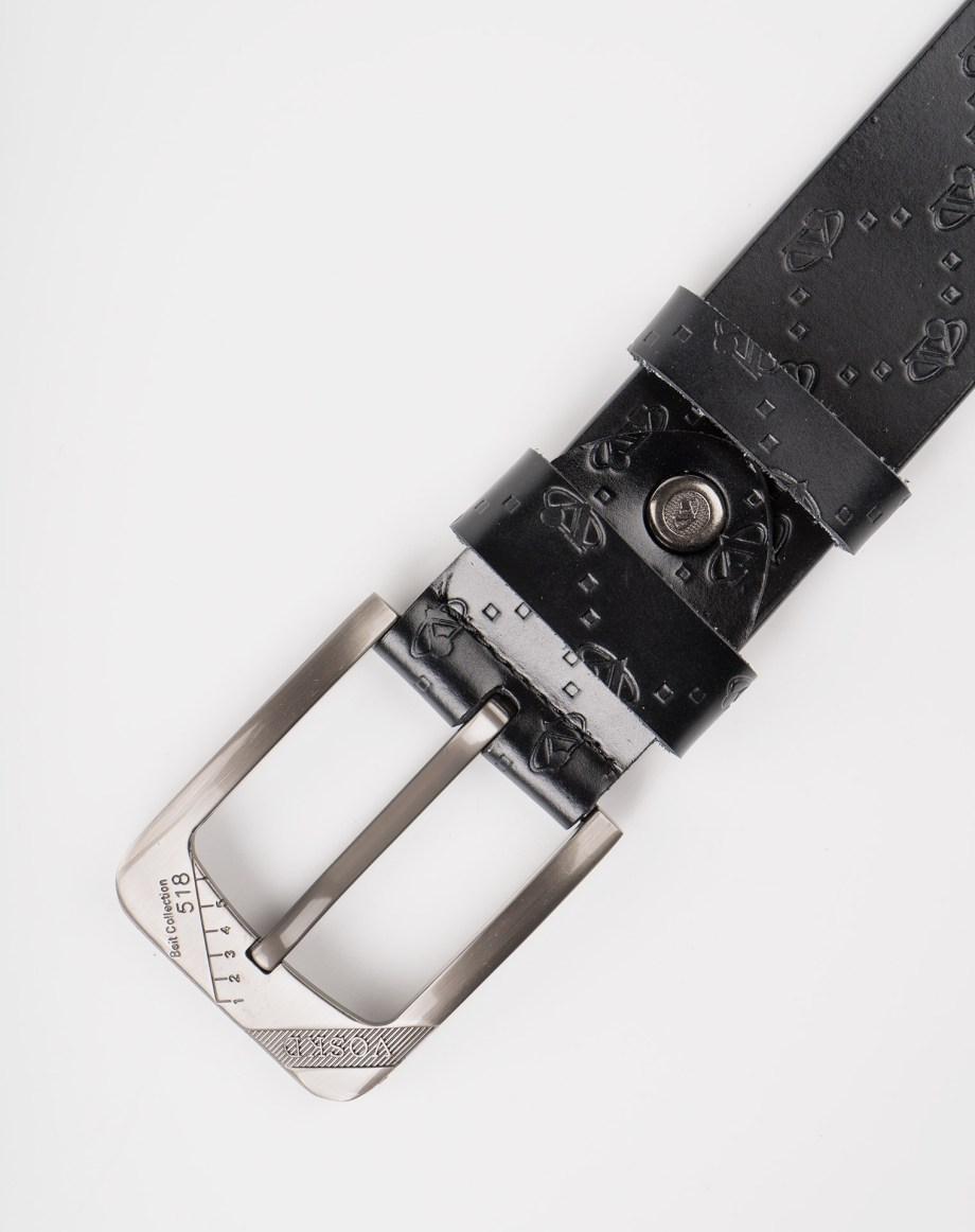 Image 7 of Mens Etched Buckle Leather Belt of color Black from Noroze