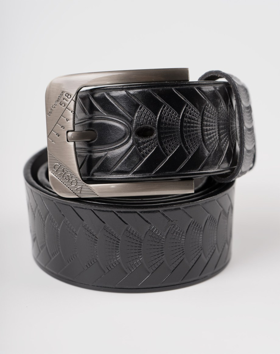Image 3 of Mens Animal Patterned Leather Belt of color Black from Noroze Brand