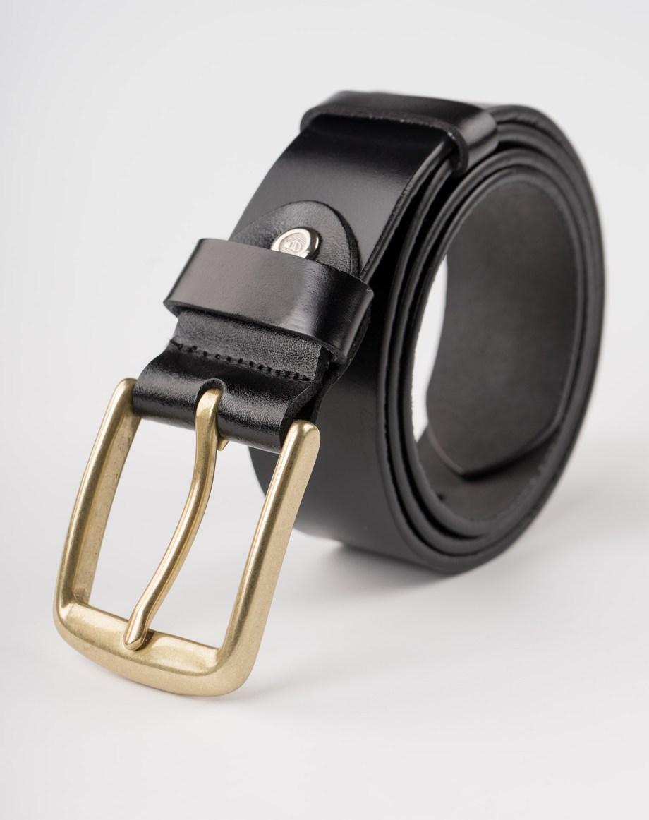 Image 1 of Mens Leather Black Belt Golden Buckle from Noroze