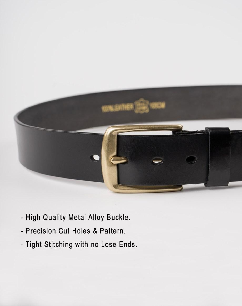 Image 4 of Mens Leather Black Belt Golden Buckle from Noroze