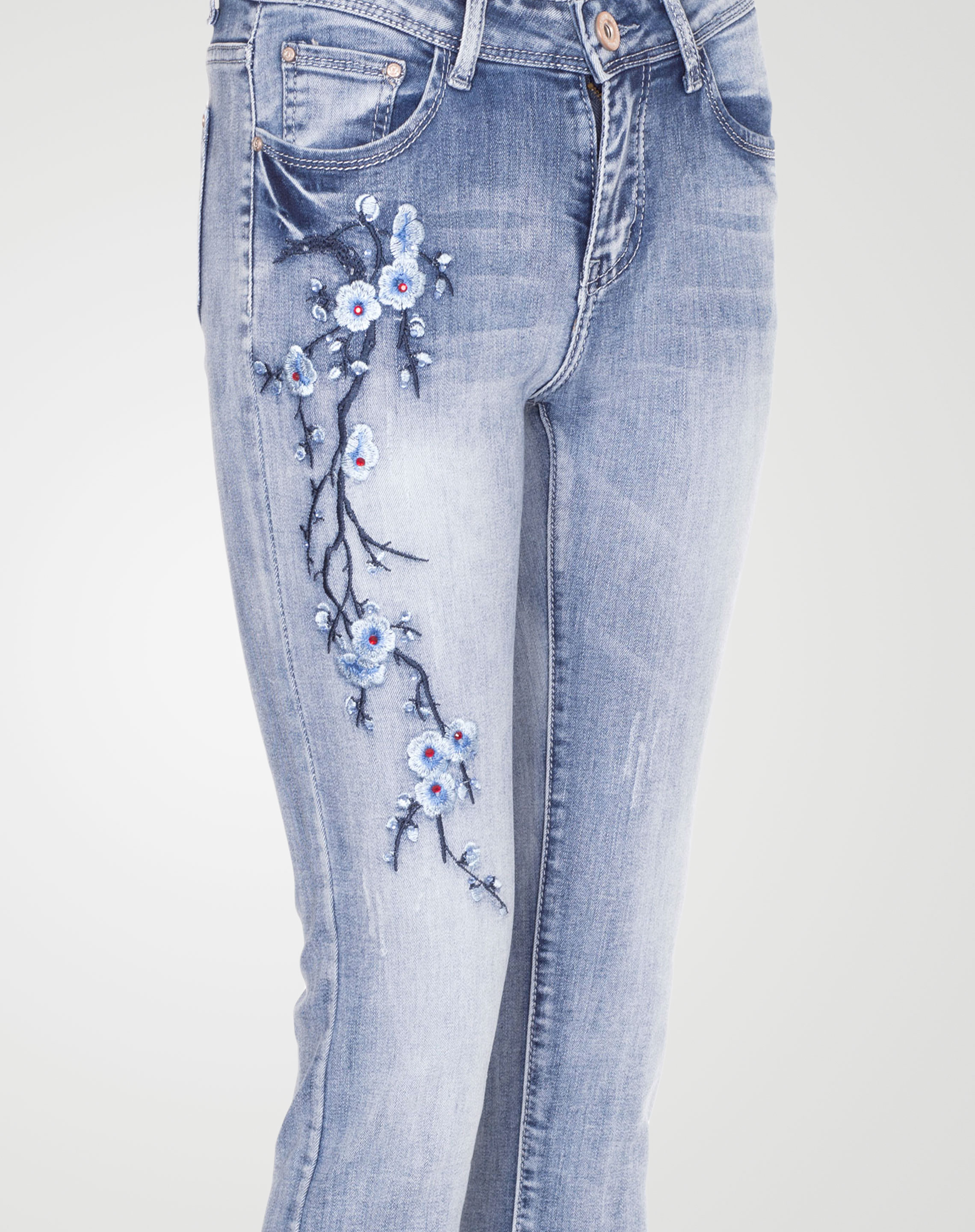 Image 2 of Womens Beads Badge Blue Jeans E416 color Blue and sizes 6, 8, 10, 12, 14, 16 from Noroze