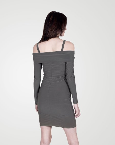 Image 2 of Womens Off-Shoulder Bodycon Dress color Khaki and sizes 8, 10, 12, 14 from Noroze