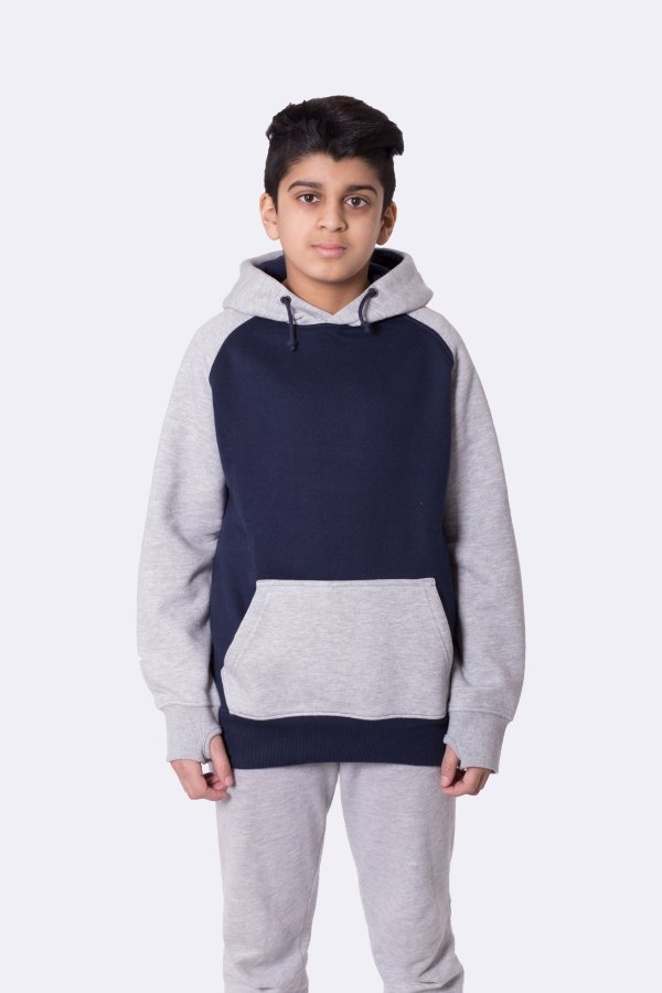 Image 1 of Boys Contrast Arm Hoodie color Navy and sizes 7-8, 9-10, 11-12, 13 from Noroze