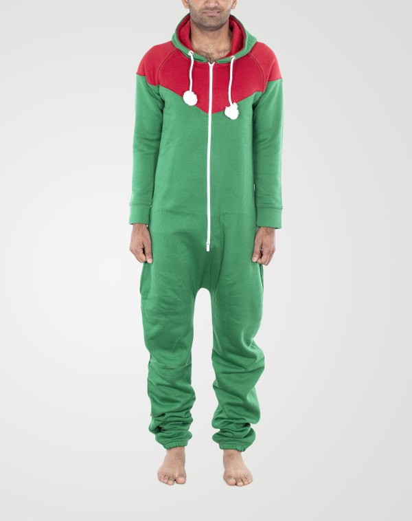 Image 1 of Mens Contrast Color Onesie color Red-Green and sizes S, M, L, XL, 2XL from Noroze