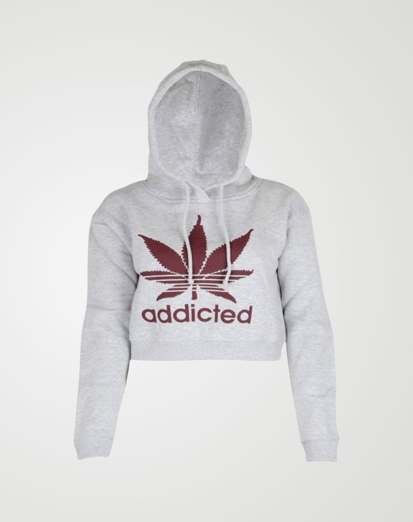Image 1 of Womens Addicted Print Hoodie color Red-Print/ Grey and sizes S, M, L, XL from Noroze