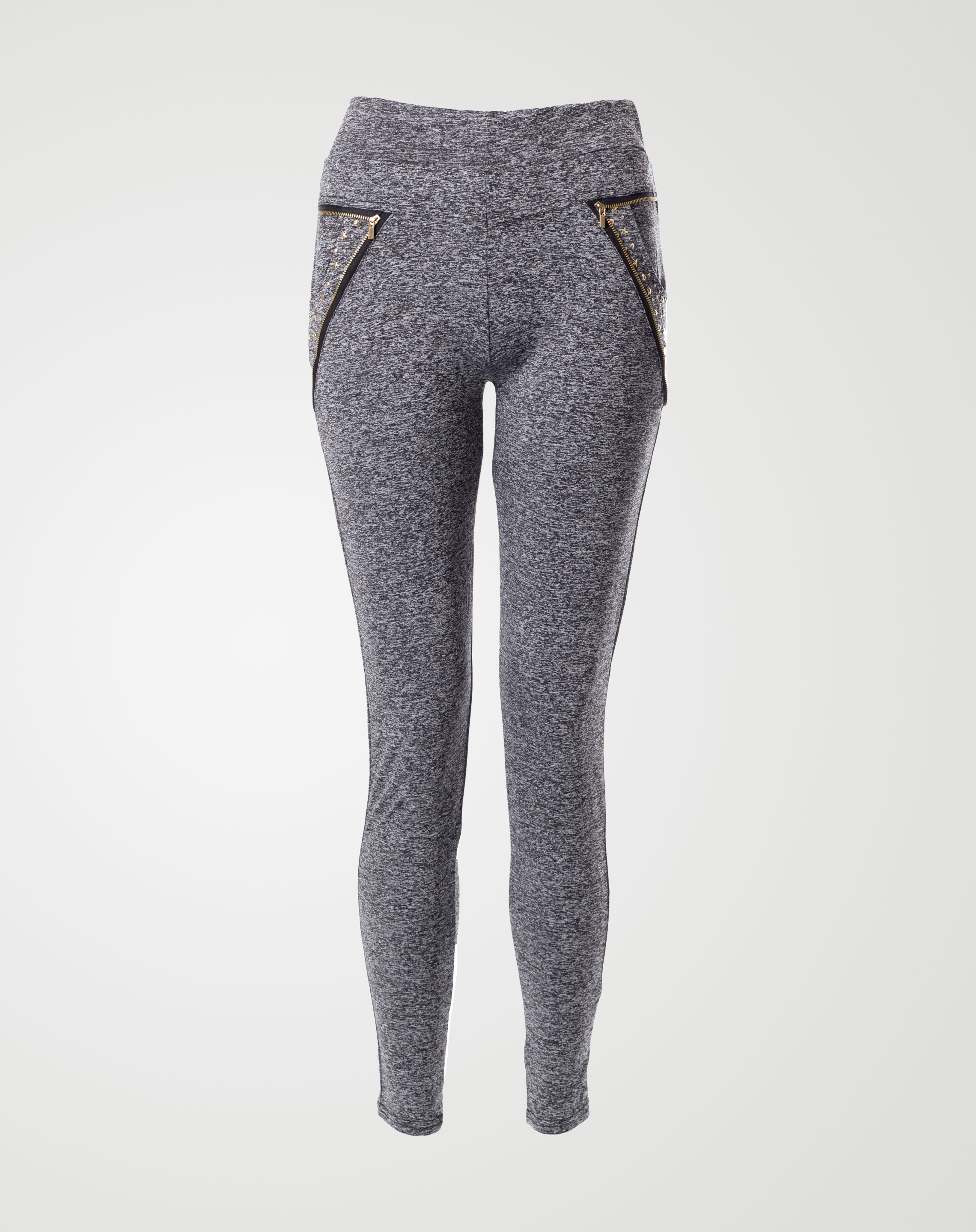 Image 1 of Womens Waist Side Zips Leggings 2046 Color Charcoal and sizes S-M, M-L, XL-2XL from Noroze