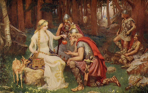 "Painting of ""Idun and the Apples"" by James Doyle Penrose (1890. Public domain)"