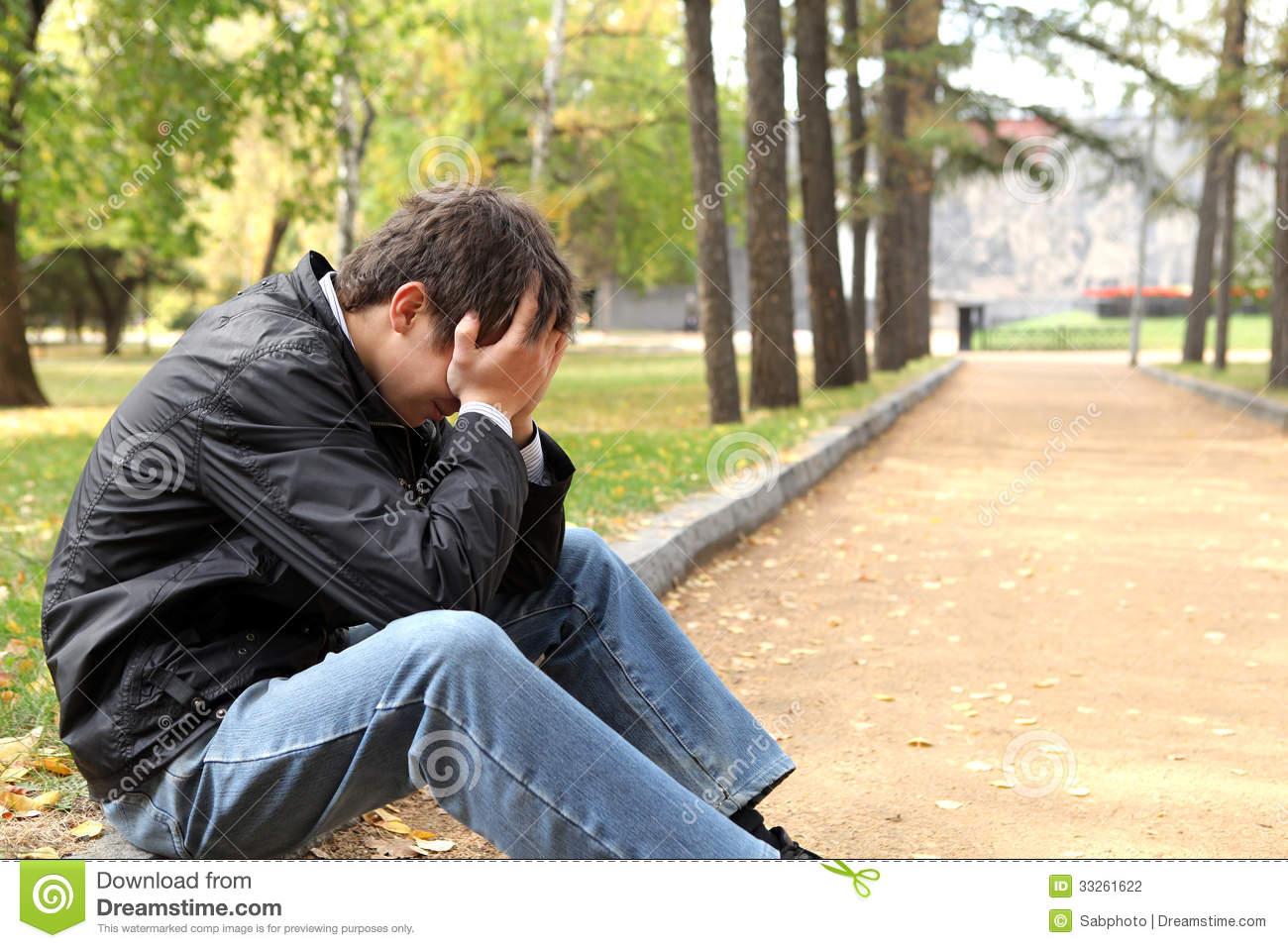 Sad Young Man Sitting Autumn Park Hidden Face 33261622
