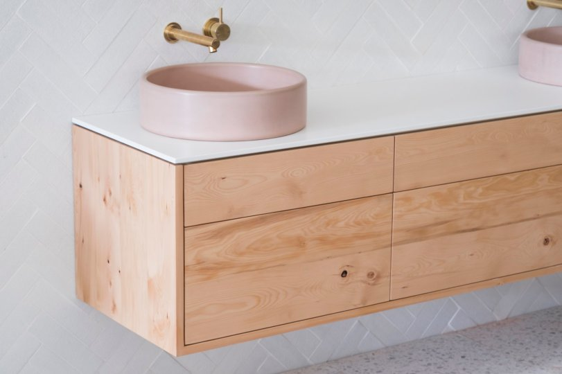 STONE & WOOD BATHROOM VANITY - CELERY TOP PINE
