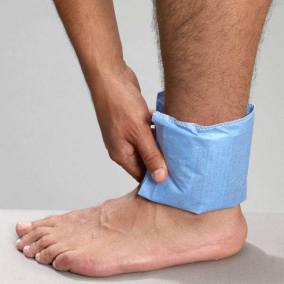 Blue Easy Sleeve Disposable Cover on Ankle