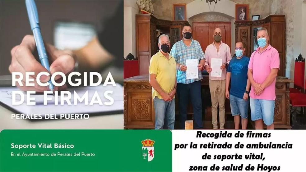 Recogida de firma por la retirada de ambulancia de soporte vital Hoyos