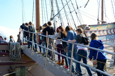Going aboard the Susan Constant